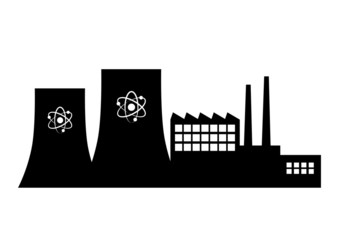 Nuclear power station on white background