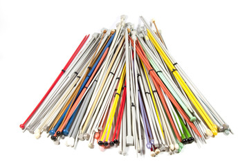 Knitting Needles of Various Colors and Sizes