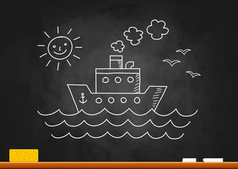 Ship drawing on blackboard