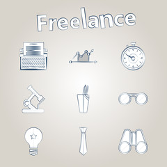 Sketch icons for freelance and business