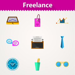 Flat icons for freelance and business
