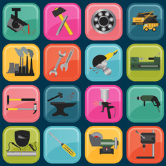 Set of metal working tools icons