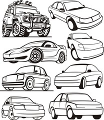 car abstract contour set