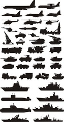 military mashine plane and boats silhouettes