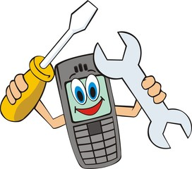 mobile telephone with screwdriver and wrenches