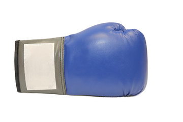 blue boxing glove in white background