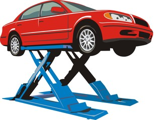 car on a lift