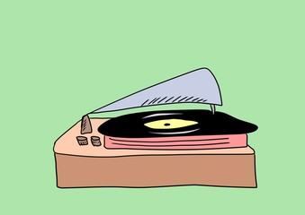 doodle style gramophone