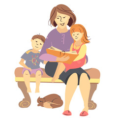 vector mother reading a book to children