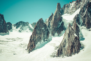 Massif de mont Blanc on the border of France and Italy. In the f