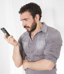 man looking at a phone