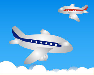 Red and blue airplane