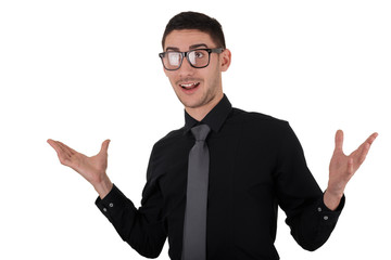 Young Man with Glasses Exclamation