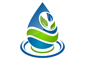 logo natural water drop