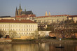 View of Mala Strana and Prague castle over Vltava river. Prague,