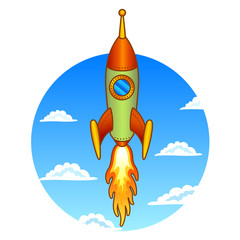 Vintage, old rocket on a sky background