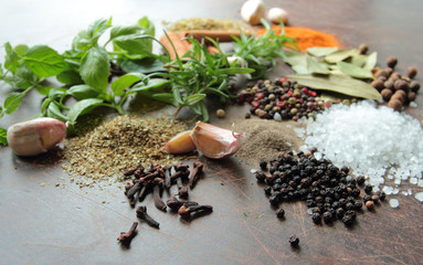 Fresh herbs and spices. Food and cuisine ingredients.
