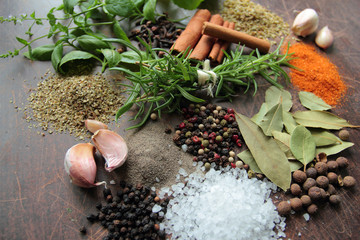 Herbs and spices. Food and cuisine ingredients.