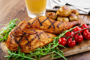 grilled chicken with potatoes half