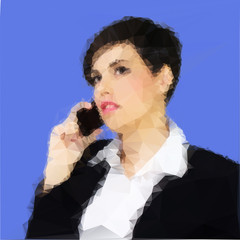 Woman talking on the phone. Polygon vector illustration
