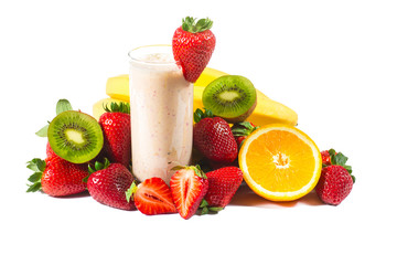 healthy strawberry smoothie with fruits  isolated