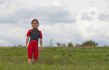 Portrait of little surfer