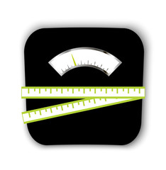 Scales with measuring tape, vector illustration.