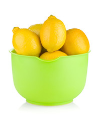 Fresh ripe lemons in a bowl