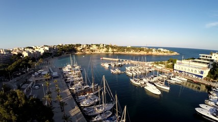 Harbor of Portocristo at Sunset - Aerial Flight, Mallorca