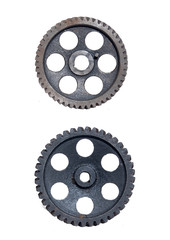 2 gears on white background