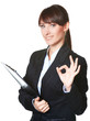 Business woman Ok gesture