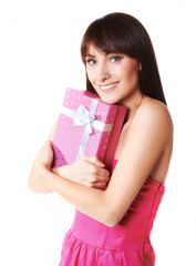 Young woman take the gift box