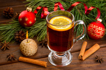 mulled wine with anise and christmas ball