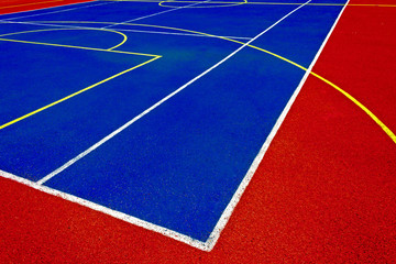 Synthetic Tennis & Basketball Court. Detail