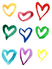 Set of colorful hand drawn watercolor hearts