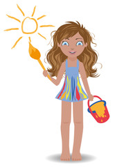Little cute girl paint sun, vector illustration