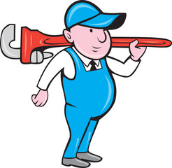 Plumber Holding Big Monkey Wrench Cartoon