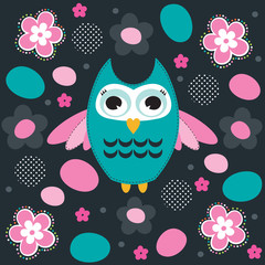 owl with flower vector illustration
