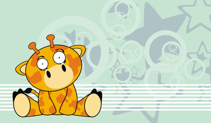 giraffe baby cute sit cartoon background