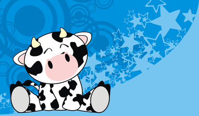 cow baby cute sit cartoon background