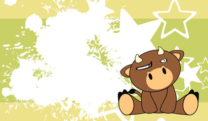 bull baby cute sit cartoon background