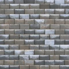 Grey bright dark brown wet weathered decorative brick wall