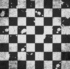 vintage old scratched empty chess board