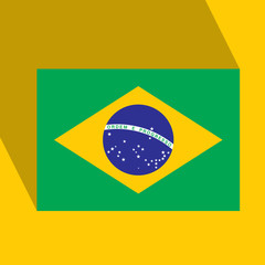 Brazil Flat Icon with Brazilian Flag