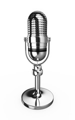 3d Retro Microphone Silver Metal - isolated