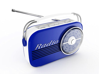 3d Retro Radio (Blue) - isolated