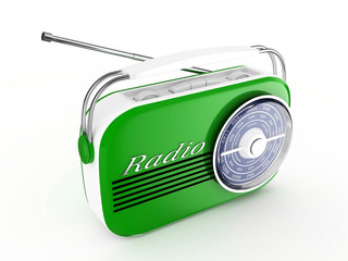 3d Retro Radio (Green) - isolated
