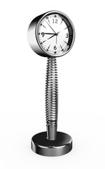 3d Silver Metal Spring Clock - isolated