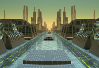 Futuristic Alien City - Computer Artwork