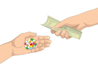 Pills in one hand and money in another hand